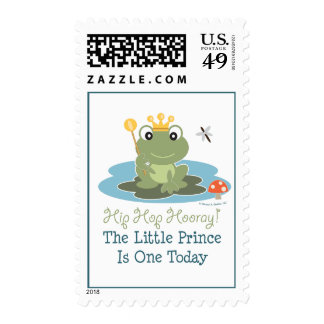 Little Prince Frog 1st Birthday Postage Stamps