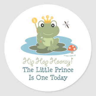 Little Prince Frog 1st Birthday Stickers