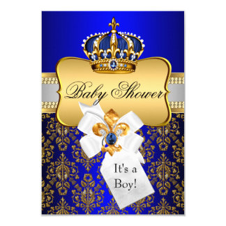 Little Prince Gold Blue Crown Baby Shower Invite