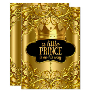 Little Prince is on his way Baby Shower Golden Card