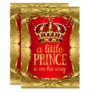 Toddler & Baby themed Little Prince on his way Baby Shower Gold Red Card