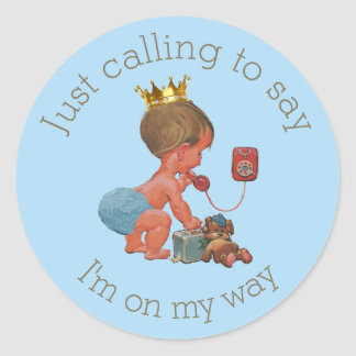 Little Prince on Phone Blue Gray Baby Shower Classic Round Sticker