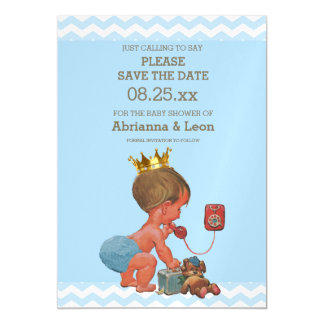 Little Prince on Phone Save The Date Gray Blue Magnetic Card
