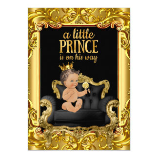 Little Prince on Throne Baby Shower Brunette Baby Card