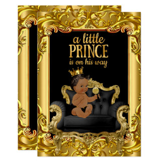 Little Prince on Throne Baby Shower Ethnic Card
