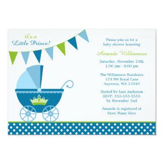 Little Prince Polka Dot Bunting Boy Baby Shower 5x7 Paper Invitation Card