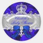 Little Prince Royal Blue Baby Shower Sticker
