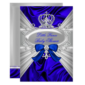 Little Prince Royal Blue Boy Baby Shower Invite