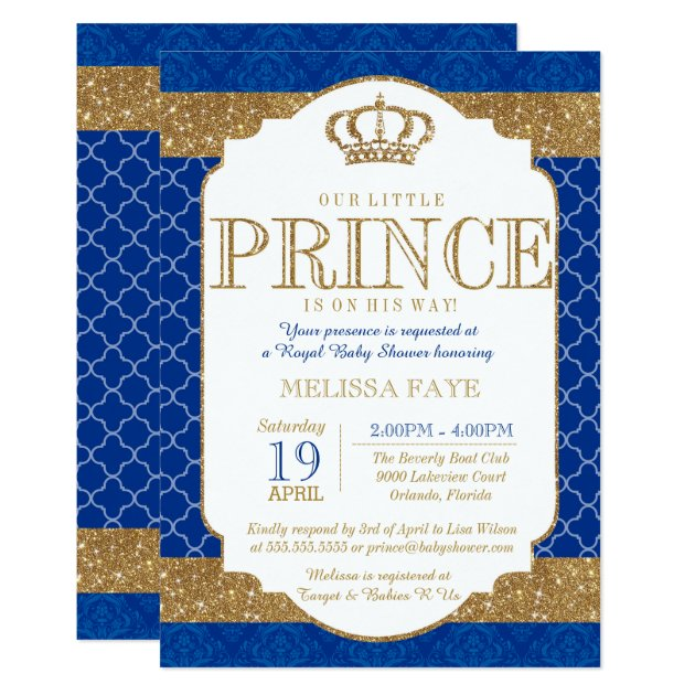 little prince royal blue gold baby shower card | zazzle,
