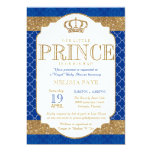 Little Prince Royal Blue Gold Baby Shower Card