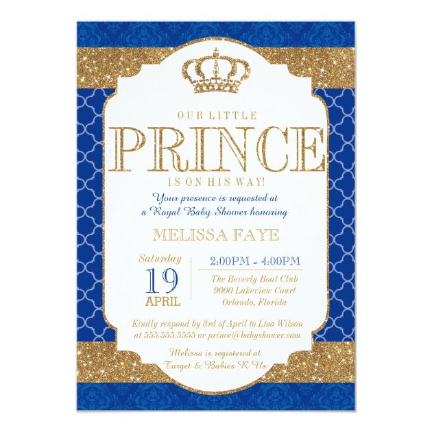 Little Prince Royal Blue Gold Baby Shower Card | Zazzle