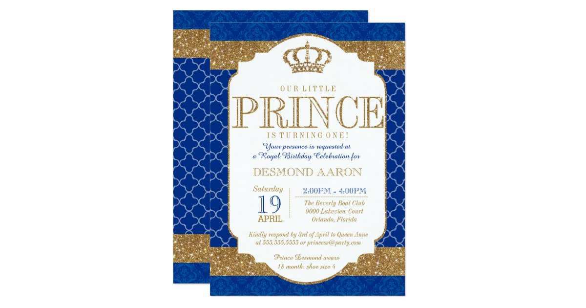 Prince Birthday Invitations Announcements – Little Prince Birthday Invitations