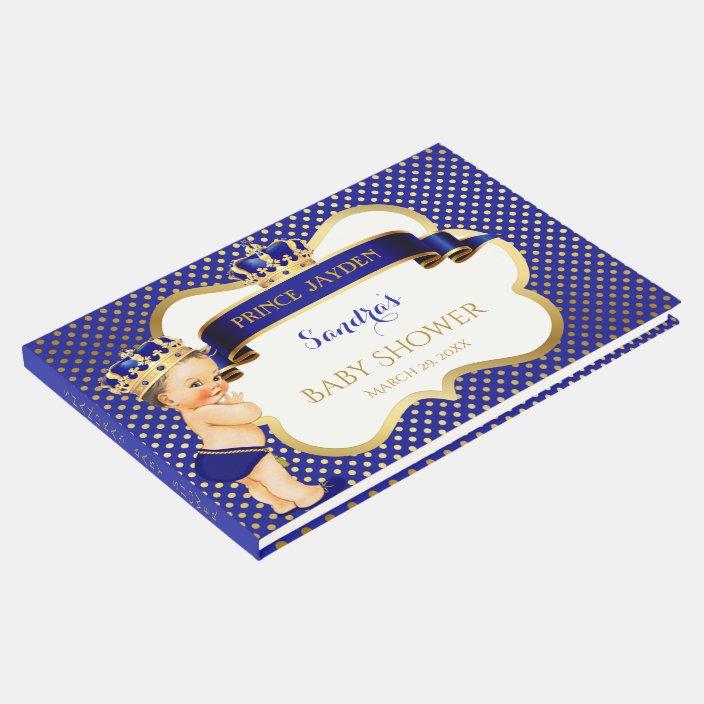 Little Prince Royal Blue Gold Crown Baby Boy Guest Book Zazzle Com