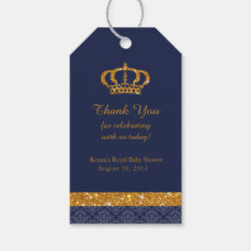 Little Prince Royal Navy Blue and Gold Favor Tag