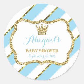 Little Prince Sticker, Baby Blue, Faux Glitter Classic Round Sticker