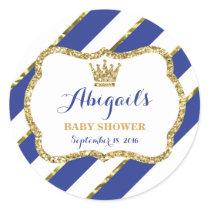 Little Prince Sticker, Royal Blue Faux Glitter Classic Round Sticker