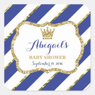 Little Prince Sticker, Royal Blue Faux Glitter Square Sticker