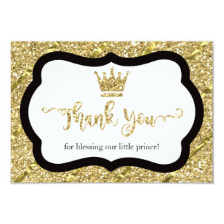 Little Prince Thank You Card, Black, Faux Glitter Card