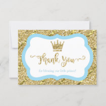 Little Prince Thank You Card, Blue, Faux Glitter