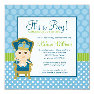 Little Prince Throne Polka Dot Boy Baby Shower Card