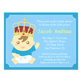 Little Prince with Crown Baby Shower Card