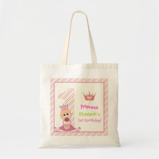 Little princess and crown girls 1st birthday pink canvas bag