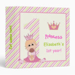 Little princess and crown girls 1st birthday pink 3 ring binders