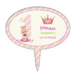 Little princess and crown girls 1st birthday pink cake toppers