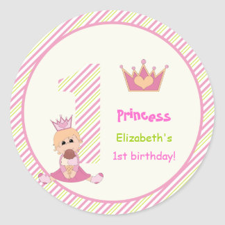 Little princess and crown girls 1st birthday pink classic round sticker