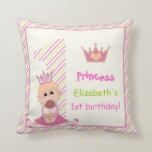 Little princess and crown girls 1st birthday pink throw pillows