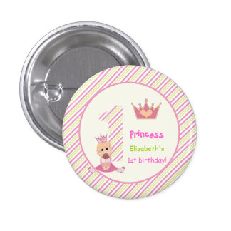 Little princess and crown girls 1st birthday pink pinback button