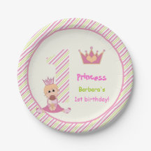 Little princess and crown girls 1st birthday pink 7 inch paper plate