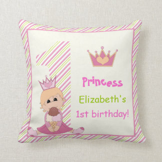 Little princess and crown girls 1st birthday pink throw pillow