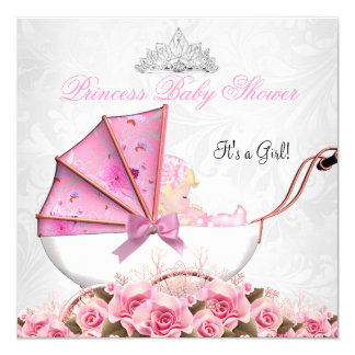 Little Princess Baby Shower Baby Girl Pink Rose 4 5.25x5.25 Square Paper Invitation Card