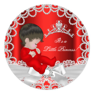 Little Princess Baby Shower Cute Baby Girl Red 2 5.25x5.25 Square Paper Invitation Card