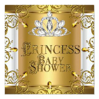 Little Princess Baby Shower Girl Gold White Card