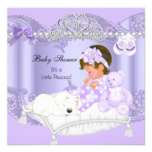 baby shower girl lavender purple square paper invitation