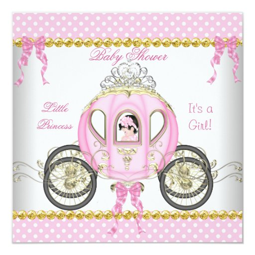 Little Princess Baby Shower Girl Pink Carriage Card | Zazzle