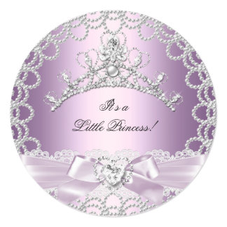 Little Princess Baby Shower Girl Pink Lilac Pearl Personalized Invitation