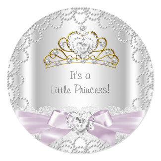 Little Princess Baby Shower Girl Pink Pearl Gold B Card