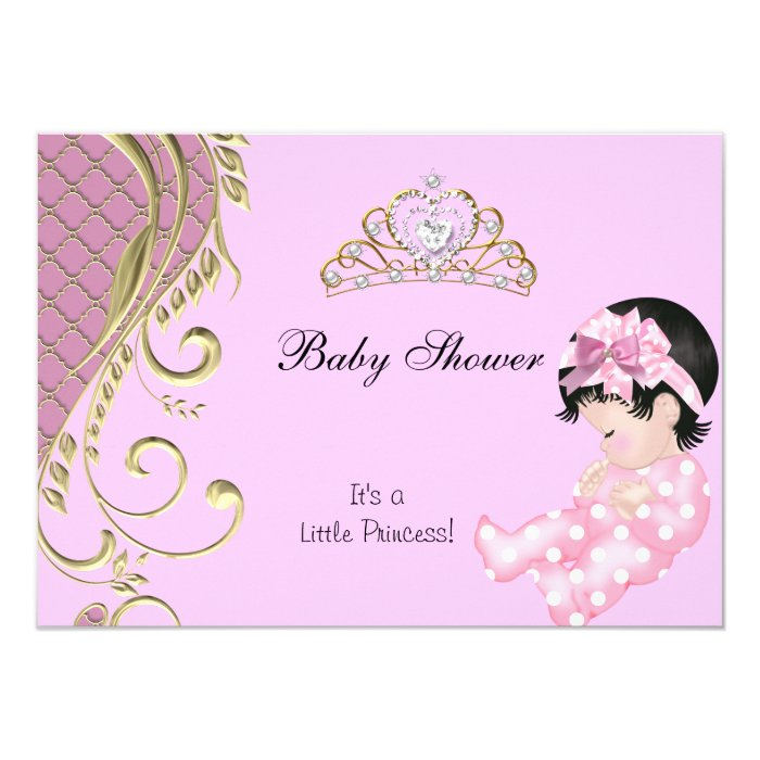 little princess baby shower girl pink white gold 3 card zazzle