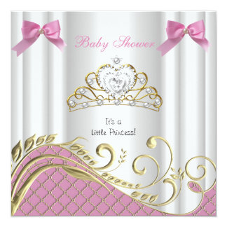"""Little Princess Baby Shower Girl Pink White Gold 3 5.25"""" Square Invitation Card"""