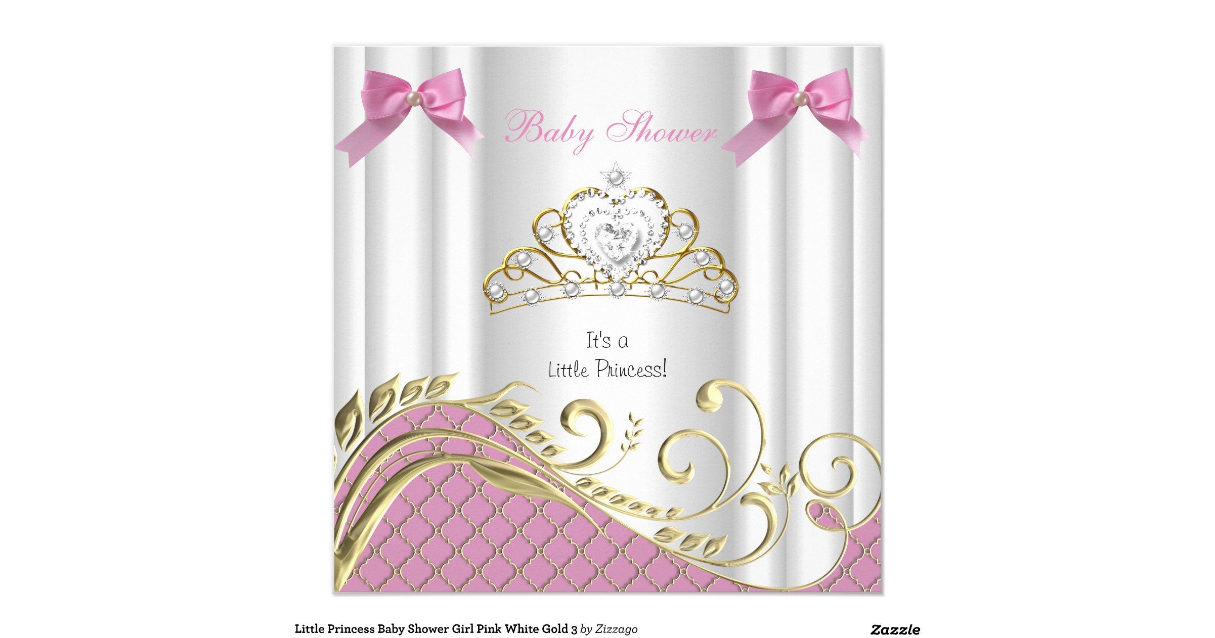 little princess baby shower girl pink white gold 3 invitation