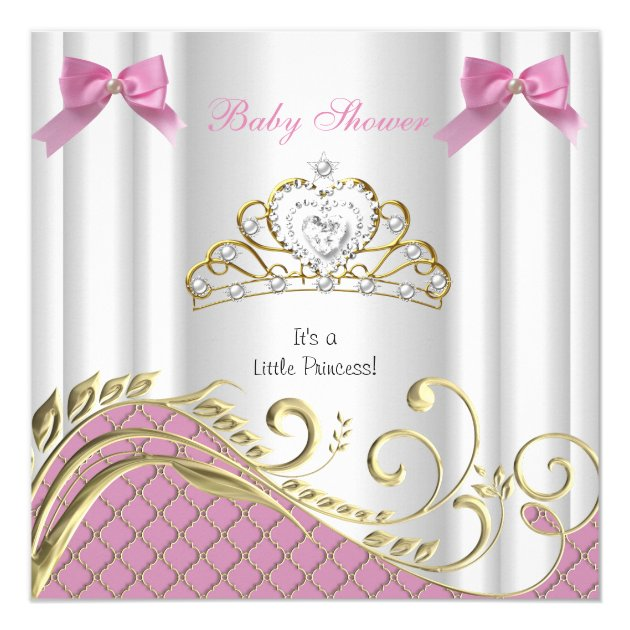 Little Princess Baby Shower Girl Pink White Gold 3 Invitation