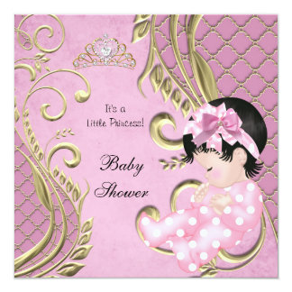 Little Princess Baby Shower Girl Pink White Gold Custom Announcement