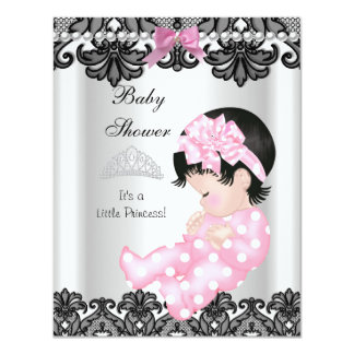 Little Princess Baby Shower Girl Pink White 4.25x5.5 Paper Invitation Card