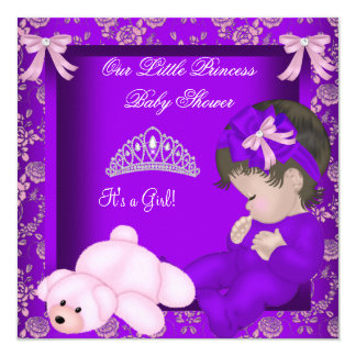 Little Princess Baby Shower Girl Purple Damask Invitation