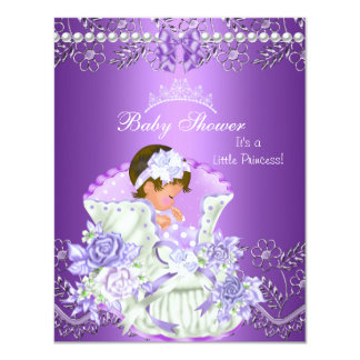 Little Princess Baby Shower Girl Purple Tiara 3 4.25x5.5 Paper Invitation Card