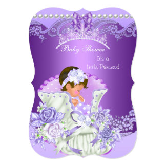 Little Princess Baby Shower Girl Purple Tiara B Card