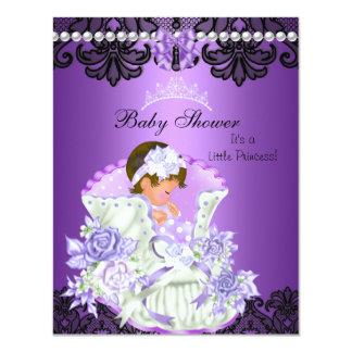 Little Princess Baby Shower Girl Purple Tiara 4.25x5.5 Paper Invitation Card